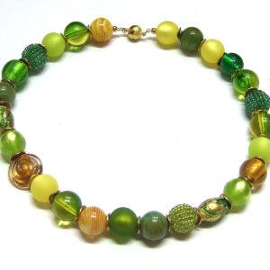 grün-gelbe 1000art Perlen Kette Unikat