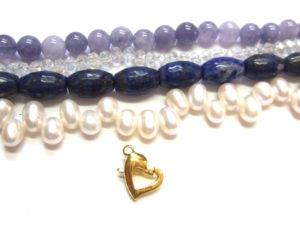 Lapislazuli Perlen mit anderen Perlen kombiniert
