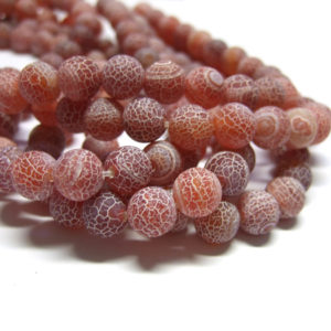 gefrosteter Achat Perlen Strang dunkelrot 15779