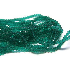 Glasperlen Glasrondelle facettiert emerald 4 mm
