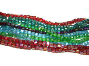 Glasperlen Würfel 10 Stränge bunt AB 4 mm 15784