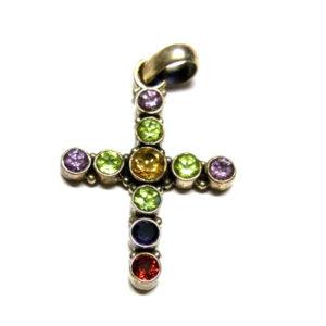 Multicolor Kreuz Anhänger 925 Silber