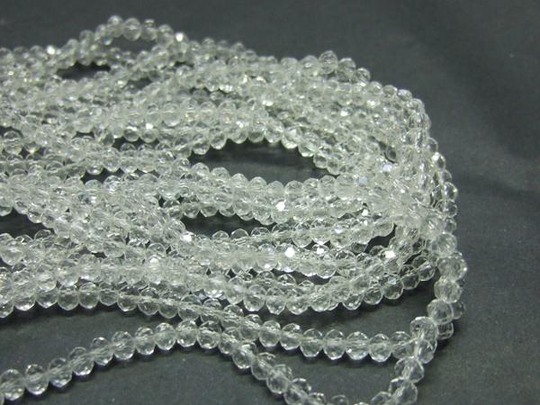 Glasperlen Glasrondelle facettiert crystal 4 mm
