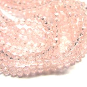 Glasperlen Glasrondelle facettiert rosa 4 mm 15857
